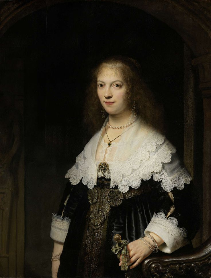 Maria Trip, daughter of one of Amsterdam's wealthiest merchants, was twenty when Rembrandt painted her portrait. The artist placed Maria against a stone arch and devoted particular attention to the reflected light, the fashionable dress and jewellery. The costly garments are trimmed with strips of gold lace and Maria is wearing a profusion of pearls. Rembrandt Harmensz. van Rijn, 1639