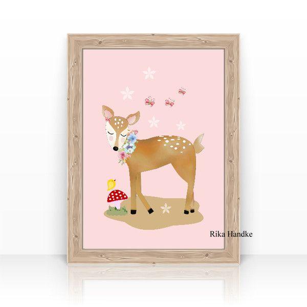 """Bilder - KINDERBILD Poster """"Verträumtes Reh """" Kinderzimmer - ein Designerstück von mollyanddolly bei DaWanda"""