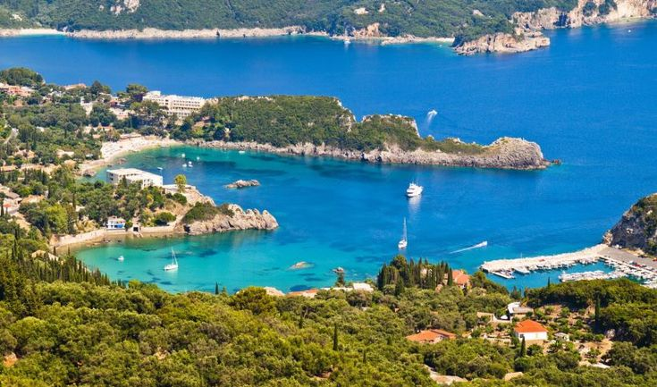 Blue waters and nature of a bay in Corfu