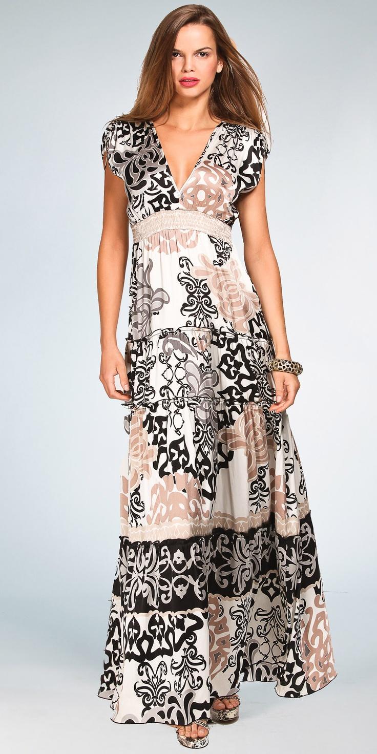 Maxi Dresses | Ivory Silk Maxi Dresses by Hale Bob