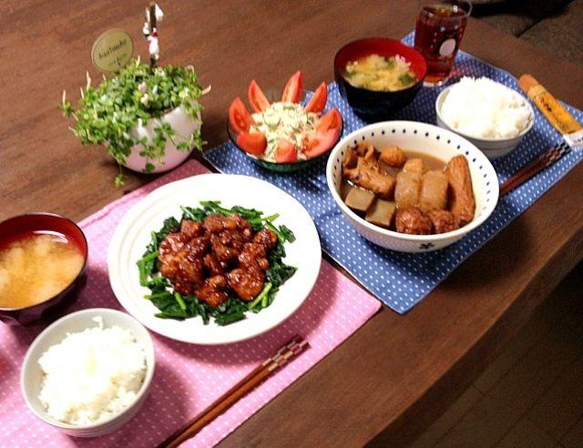 2日目のおでんは、よ〜く味が染みてて美味しいね。 (^。^) - 26件のもぐもぐ - ヒレ肉の照り焼き、春雨ツナサラダ、えのき茸のお味噌汁、2日目のおでん、ご飯 by pentarou