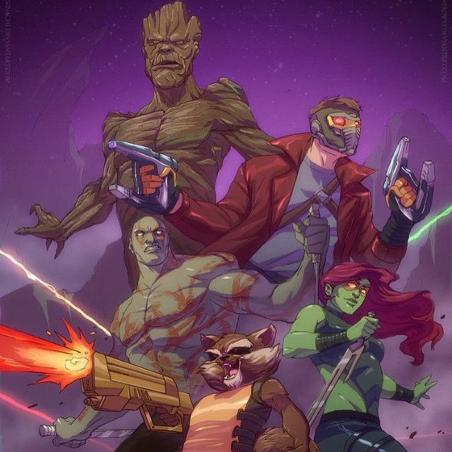Guardians of a the Galaxy fan art from last year..... Line art by #ifesinachi colors by me. Can't wait for the #animated series #fanart #marvel #GOTG #drax #rocketracoon #starlord #gamora #cartoon #movies #2014 #yinfaowei #galaxy