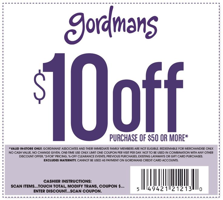 Pinned February 25th: $10 off $50 at Gordmans #coupon via The #Coupons App