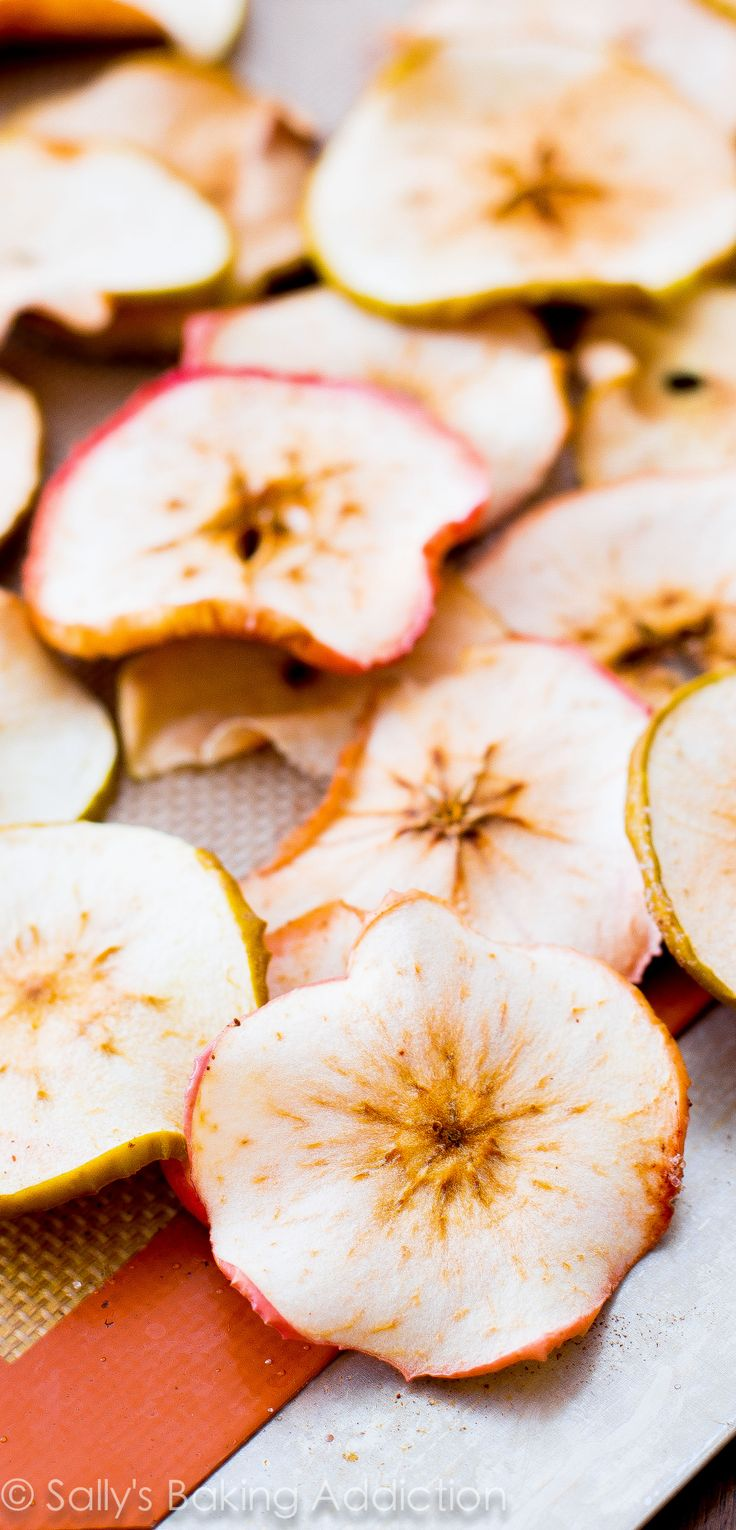 Easy baked apple chips! Crispy, crunchy, cheap, and simple. These are so addicting and all you are eating is apples.