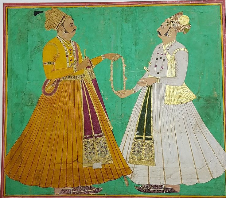 Maharaja Bakhat Singh (R) and Maharaja Ajit Singh (L) of Jodhpur c1751. Ajit is passing a garland of office to his son Bakhat- but  Bakhat in fact murdered his father,  Ajit Singh, so this image of the garland is either guilt or cynical wish fulfillment.