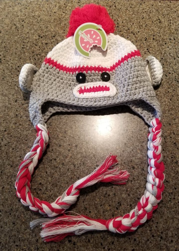 79fcadc98d4 Brand New Sock Monkey Hat - Baby Infant Size made by Melondipity Red and  White