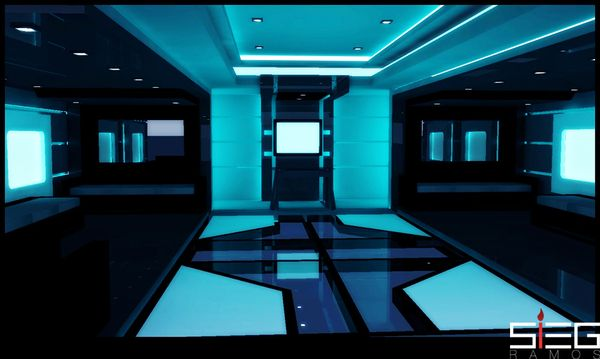Tron legacy movie futuristic interior based on club end of line graphic design - Futuristic home interior ...