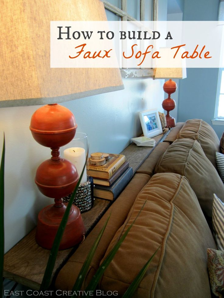 Faux Console Table. Just a piece of wood and L brackets can add so much style behind a plain couch. Simple tutorial!
