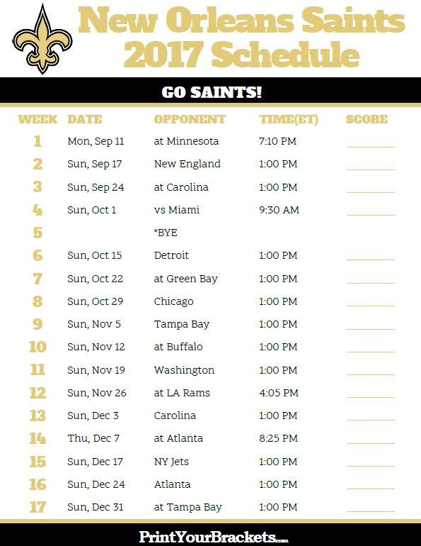 2017 New Orleans Saints Football Schedule https://www.fanprint.com/licenses/new-orleans-saints?ref=5750
