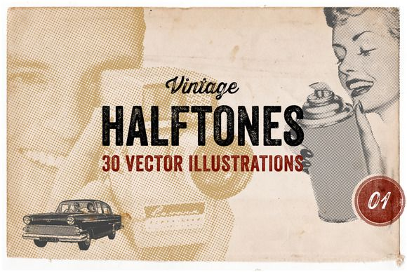 30 Vintage Vector Halftones by Offset on Creative Market