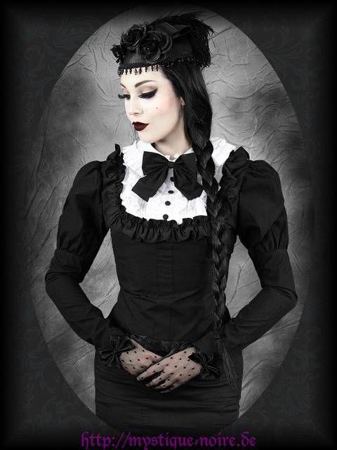 Steampunk Bluse schwarz/weiß Schleife Viktorianisch Gothic Burlesque Lolita