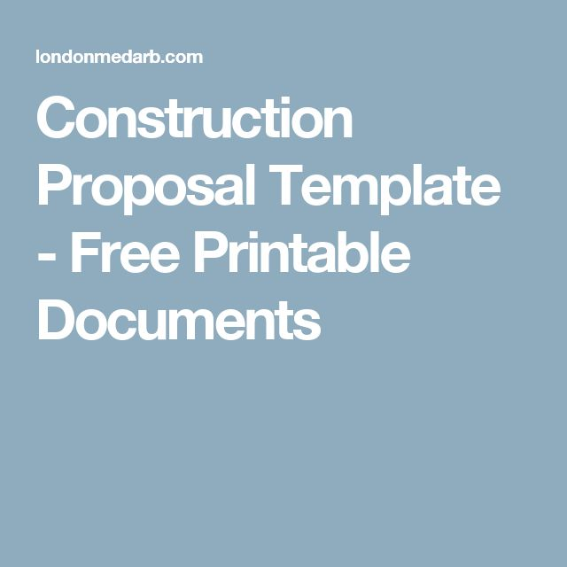 Construction Proposal Template - Free Printable Documents
