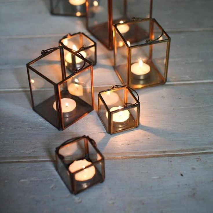 Lantern Tea Light Holder - Copper Zinc or Brass - Candle Holder Bindi by Nkuku