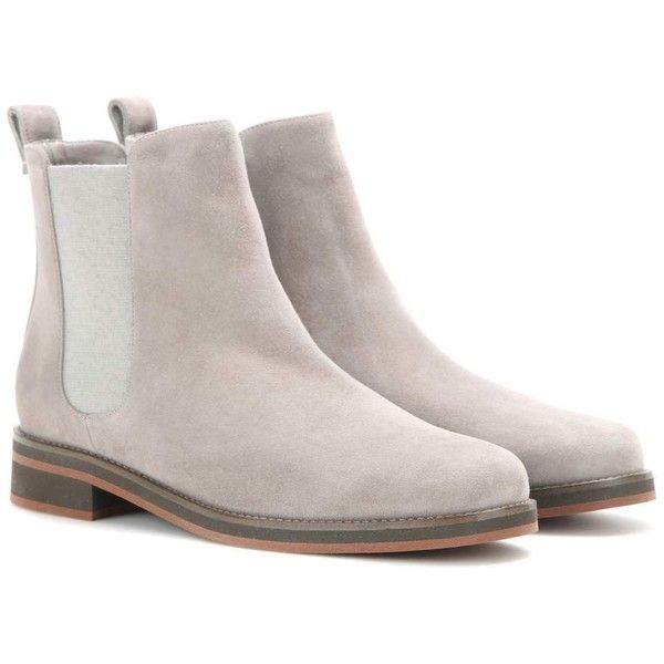 Loro Piana Montrond Suede Chelsea Boots (3.630 BRL) ❤ liked on Polyvore featuring shoes, boots, grey, suede shoes, suede leather shoes, suede beatle boots, gray boots and chelsea bootie