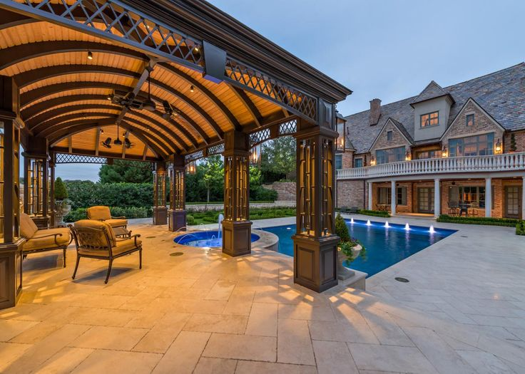 Spa Sitting Area and Pool This custom metal structure took design inspiration from images the home owner provided of Victorian cabana structures. Clear Cypress lined ceiling, integrated speakers, wifi and accent lighting are just a few of the many features of this luxurious space.