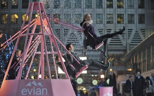Evian Make it snow- Canary Wharf
