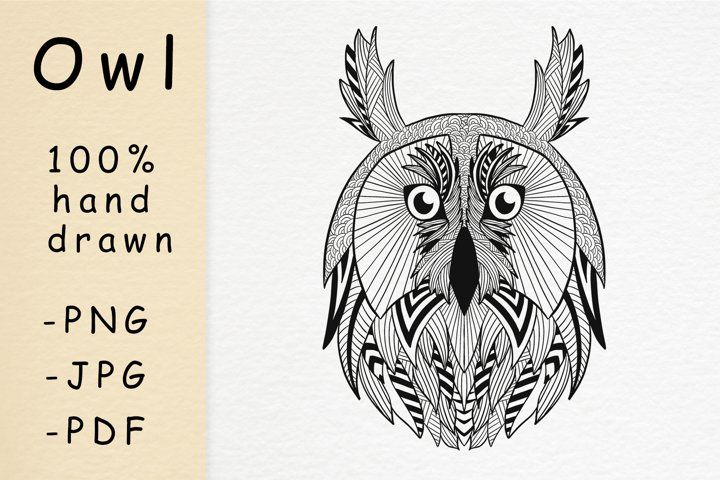 Hand Drawn Owl Head With Patterns How To Draw Hands Owl Head Stress Coloring Book