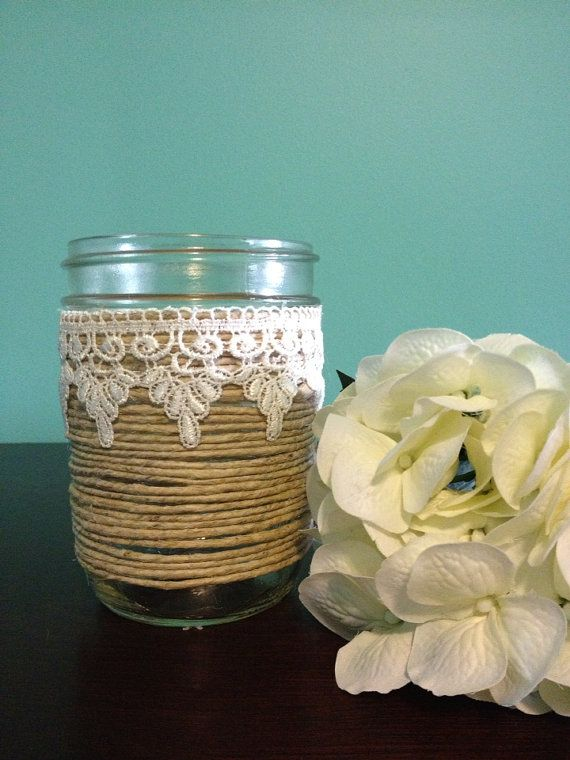 Twine and Lace covered jar on Etsy, $8.00 CAD