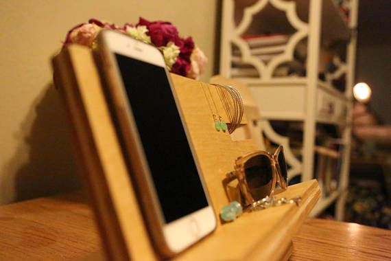 Personalized wooden cell phone charging station with wireless
