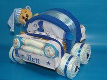 Kleines Windelauto + Bär in blau