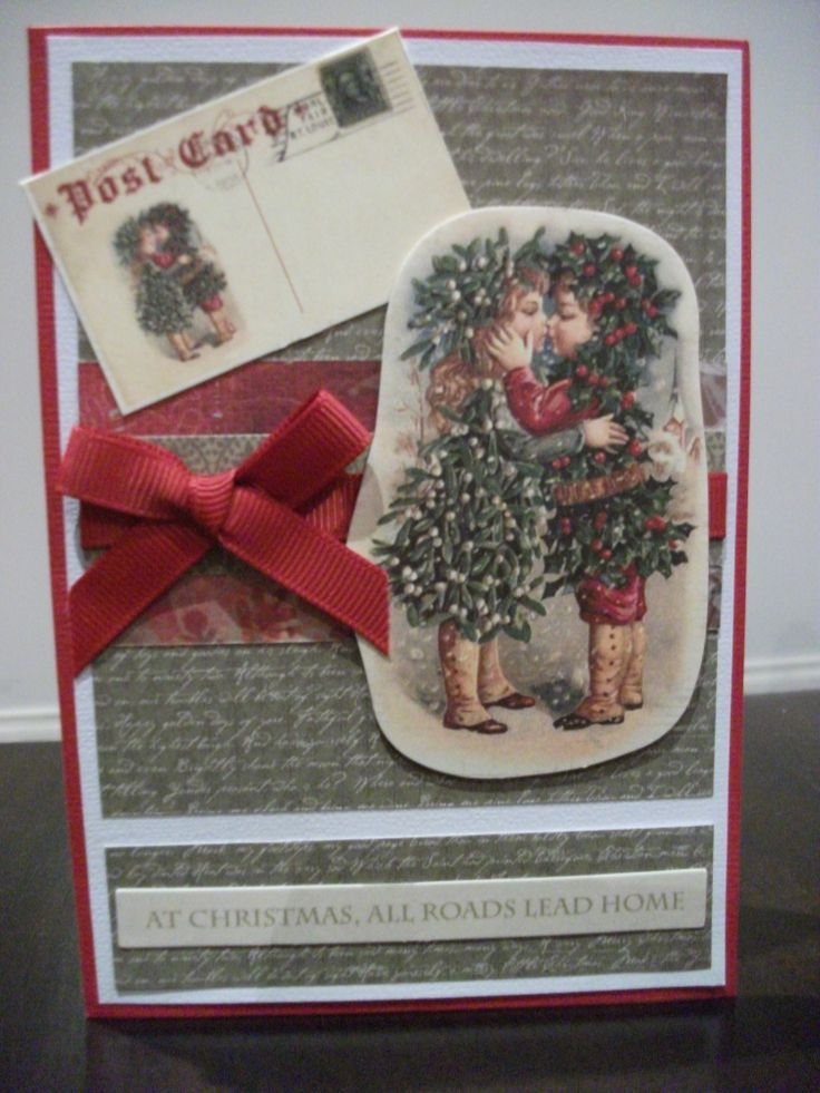 Holly and Mistletoe Christmas Card using the Kaisercraft St Nicholas paper stack and collectables.