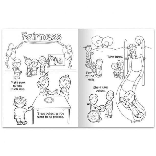 Teaching Fairness Coloring Worksheets Printable Color Worksheets Good Character Traits Coloring Pages