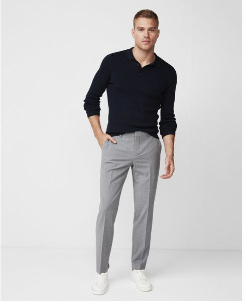 4c6934de Go out in style with these slim gray dress pants featuring a classic ...
