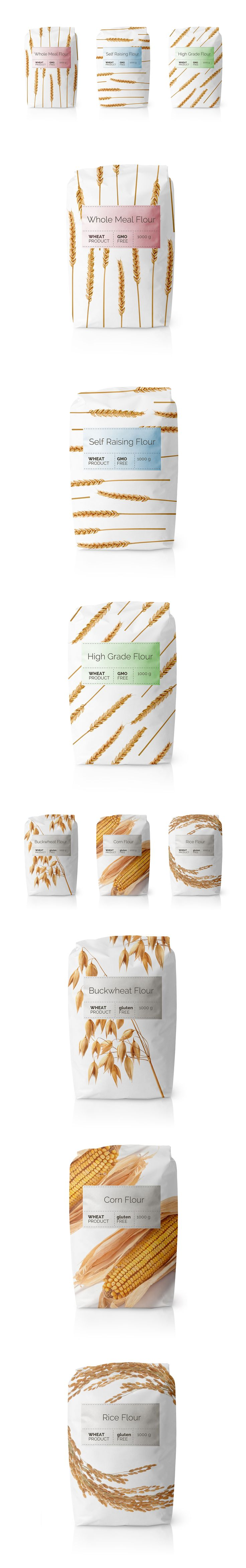 Flour GMO Free Whole Whet Products. Minimalistic graphics with simple label easing the variations of packaging.