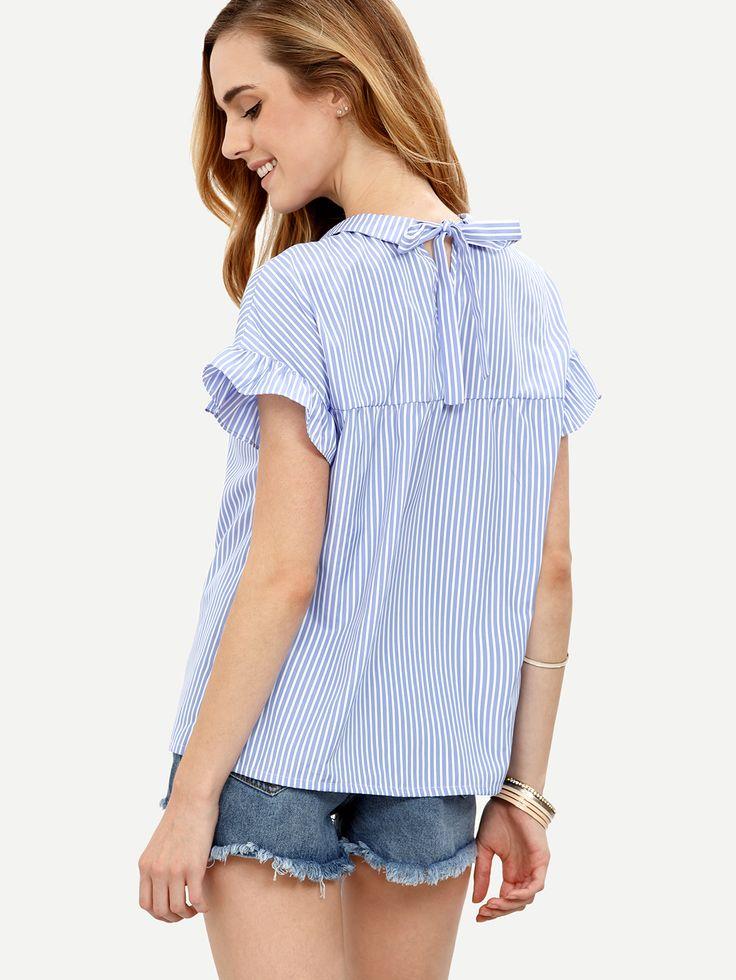 Blue Striped Peter Pan Collar Short Sleeve Blouse -SheIn(Sheinside)