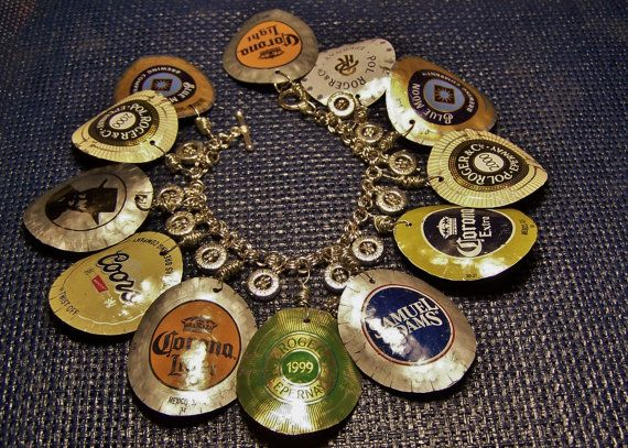 Beer & Champagne Cap Charm Bracelet B24 by CinTinque on Etsy. Stylin'