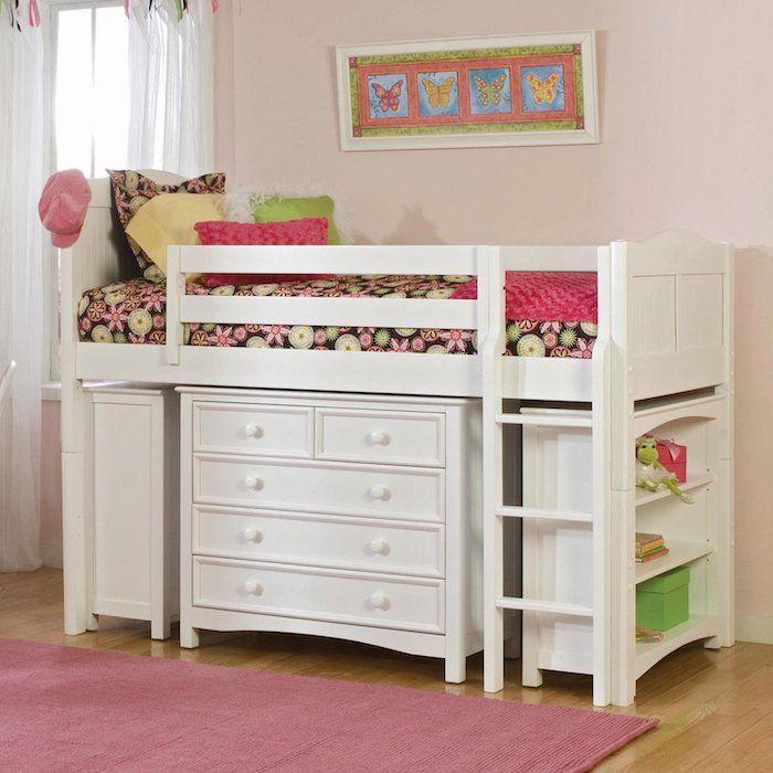 Best Hochbett f r Kinder mit einem Regal in wei er Farbe mit vielen Schubladen darunter