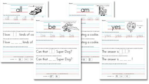 Free Worksheets: Kindergarten (Primer) Sight Word Sentences from Confessions of a Homeschooler