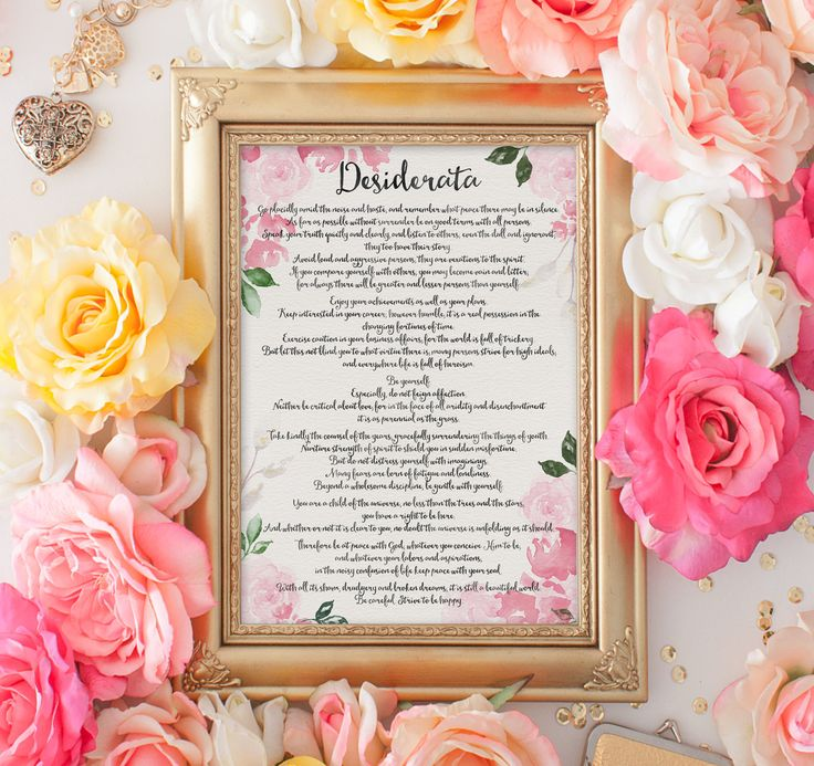 Desiderata   Printable Wall Art   Printable Quote   A4 Print   Inspirational Quote   Instant Download   Motivational Quote   Quote Printable by SmudgeCreativeDesign on Etsy