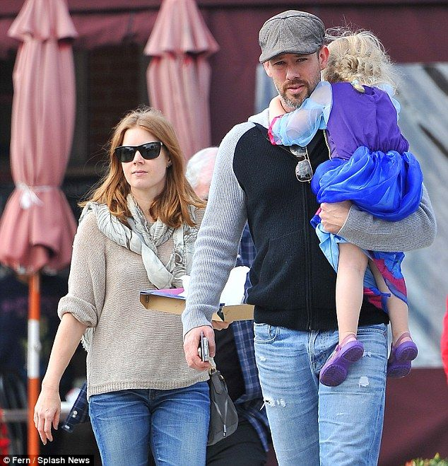 The munch bunch: Amy Adams and fiance Darren Le Gallo took their adorable daughter Aviana for brunch at Lulu's Cafe in West Hollywood on Saturday,21,2013