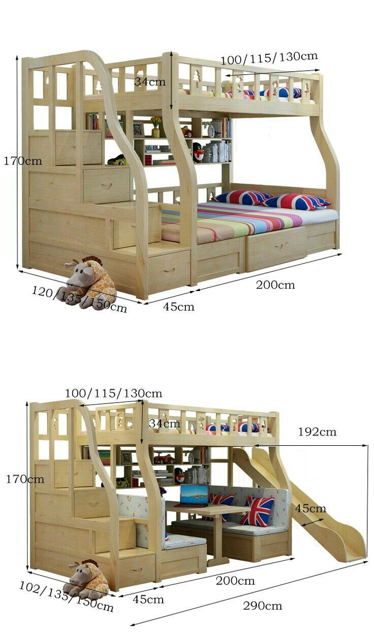 Loft bed with slide and storage  Awesome bunks with built in steps and optional sllide  Small space