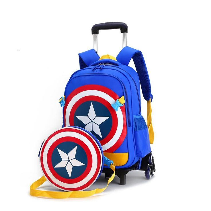 56.99$  Watch now - http://aipty.worlditems.win/all/product.php?id=32796580937 - New American Captain School backpacks for children Kids Trolley Bag Children's Backpack with Wheels mochila escolar for boys