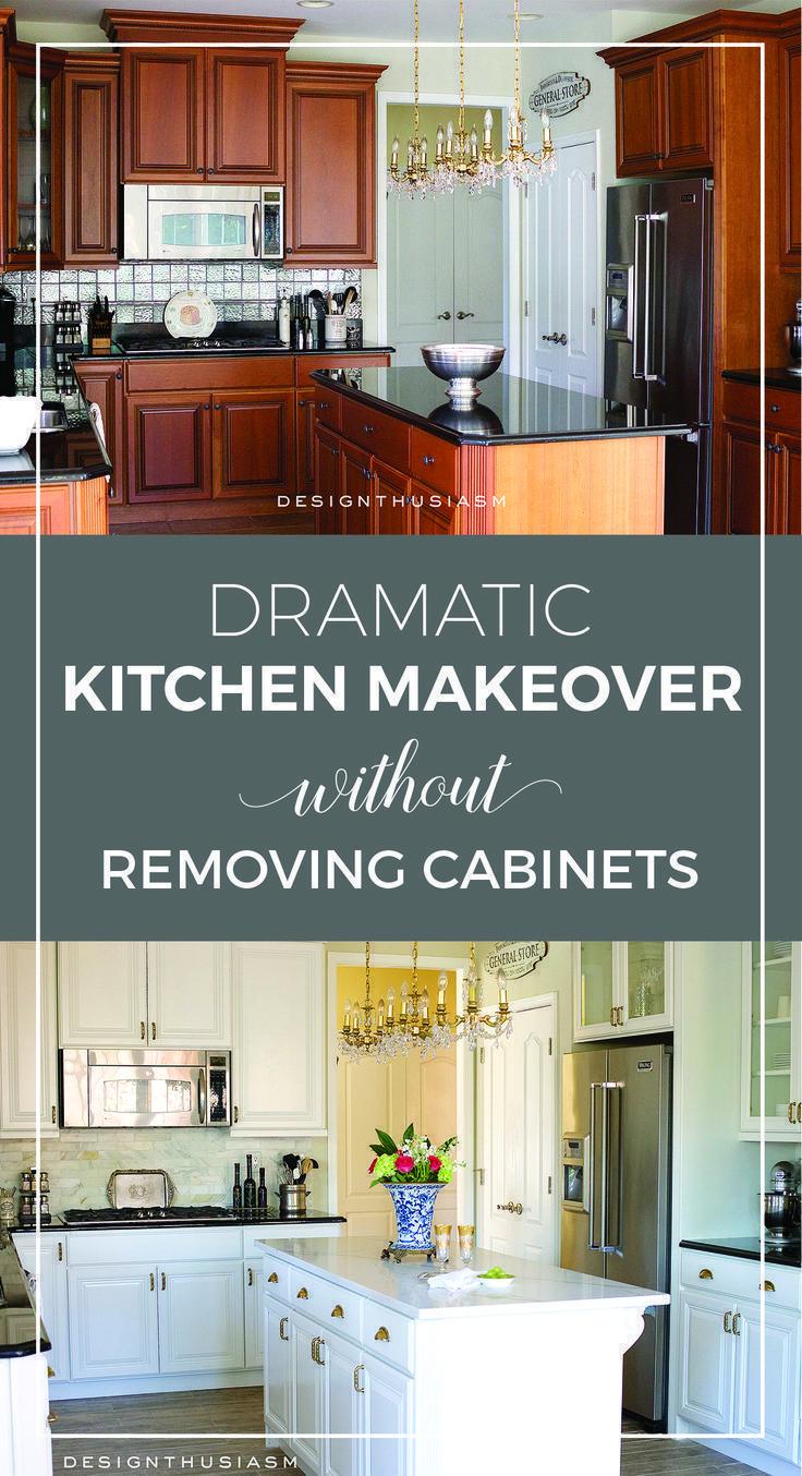 dramatic kitchen renovation without removing cabinets kitchen rh pinterest com