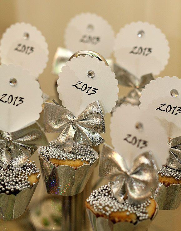 Ano Novo Decoração Cupcakes Prata