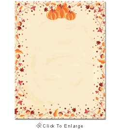 This computer printer paper features orange fall pumpkins, with falling autumn leaves and acorns bordering the sheet and plenty of room in the middle for your personalized message. The 8 1/2″ x 11″ stationary paper runs smoothly through inkjet printers, laser printers and copiers.