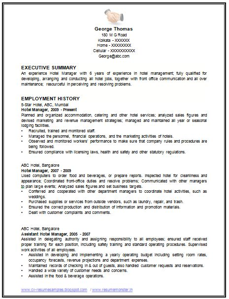 example of a resume for a restaurant management