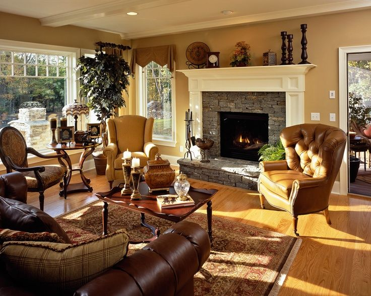 Traditional Family Room Design Pictures Remodel Decor And Ideas I Really Like The Leather Chairs Fact That They Dont Match
