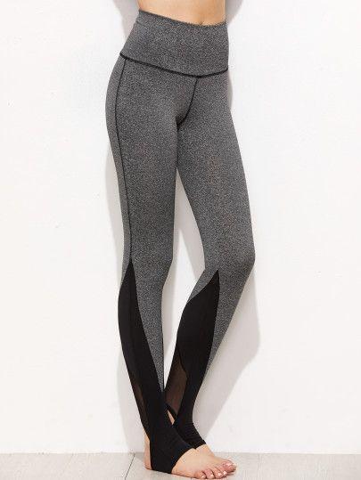 Grey Marled Knit Contrast Mesh Panel Stirrup Leggings