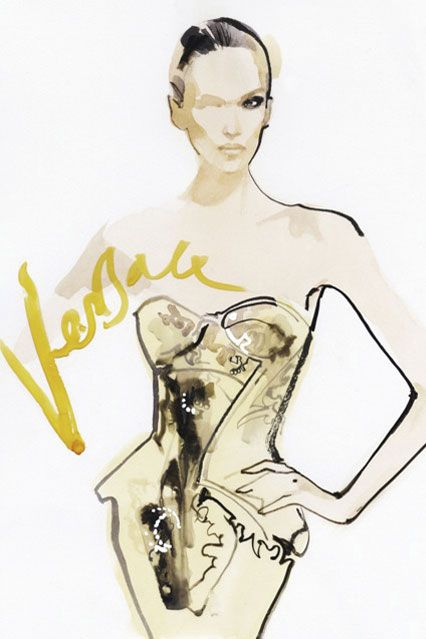 Fashion Illustration by David Downton for Versace Atelier - stunning work, was taught craft and design by his partner at 6th form in sussex