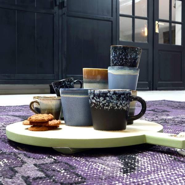 HKliving Mokken Cappuccino 70's Keramiek Set  Van 4 - één set bevat vier verschillende mokken in de 70's stijl #Keramiek #Hkliving #Interior #design #Orangehous #detail
