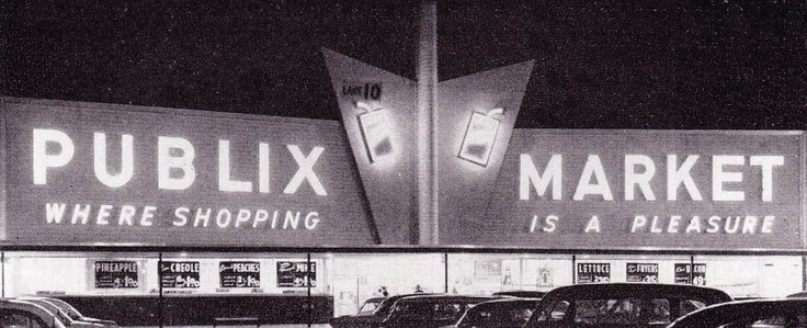 Publix grocery store in Tampa, as depicted in a 1959 ad for Time-O-Matic, Inc., the manufacturer of the control system that enabled this little bit of neon magic.
