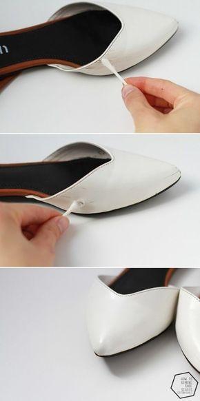Use removedor de esmalte para se livrar de arranhões em sapatos de couro sintético envernizado.   10 truques que todo mundo que usa roupas deveria saber