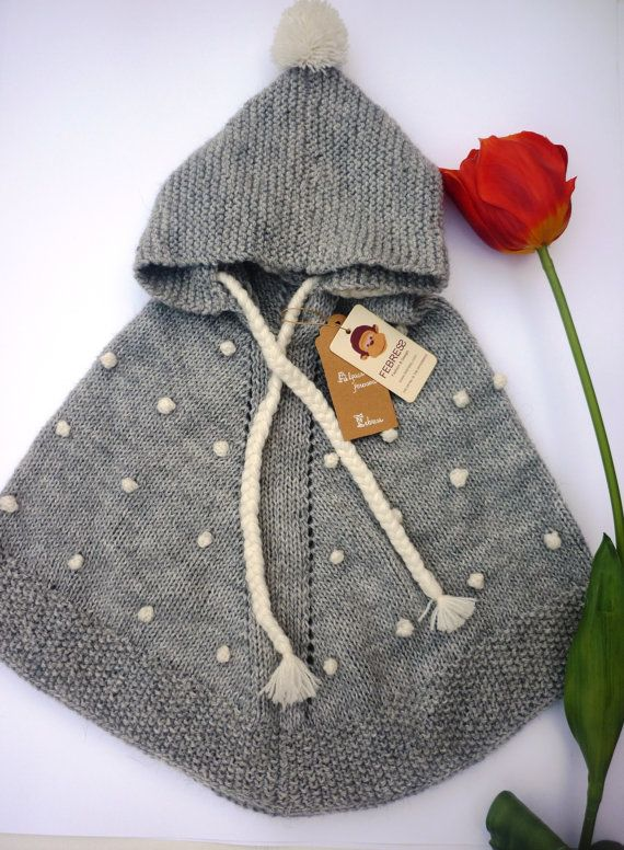 ALPACA WOOL Baby poncho with hood Hand knit in by febressfashion