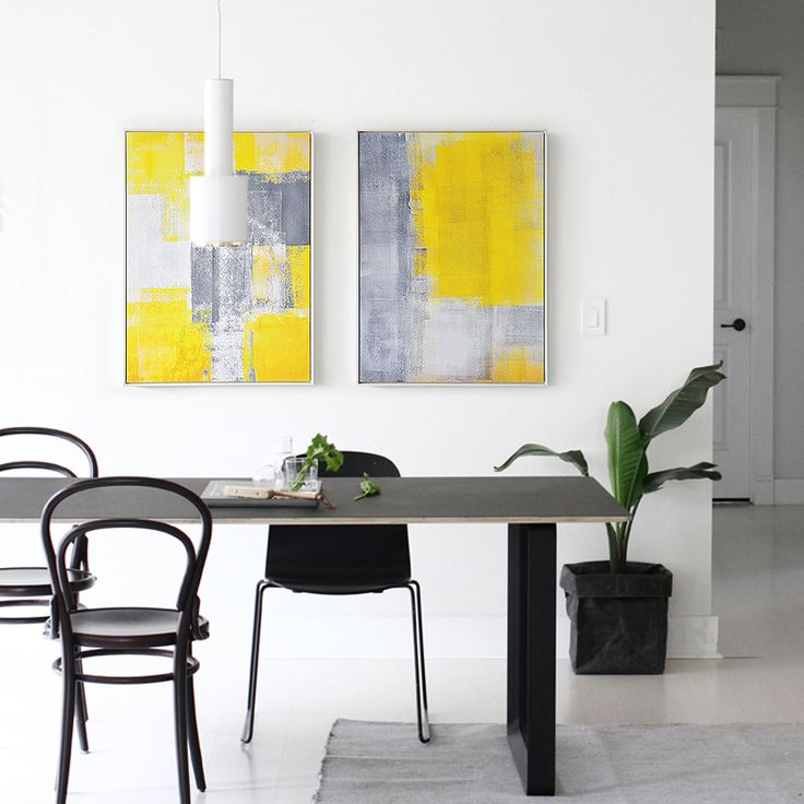 CONTEMPORARY ART PRINT MELODY OF YELLOW & GREY (SET OF 2) EXTRA LARGE