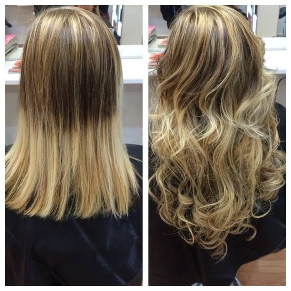 Before and after / Highlights hair extensions