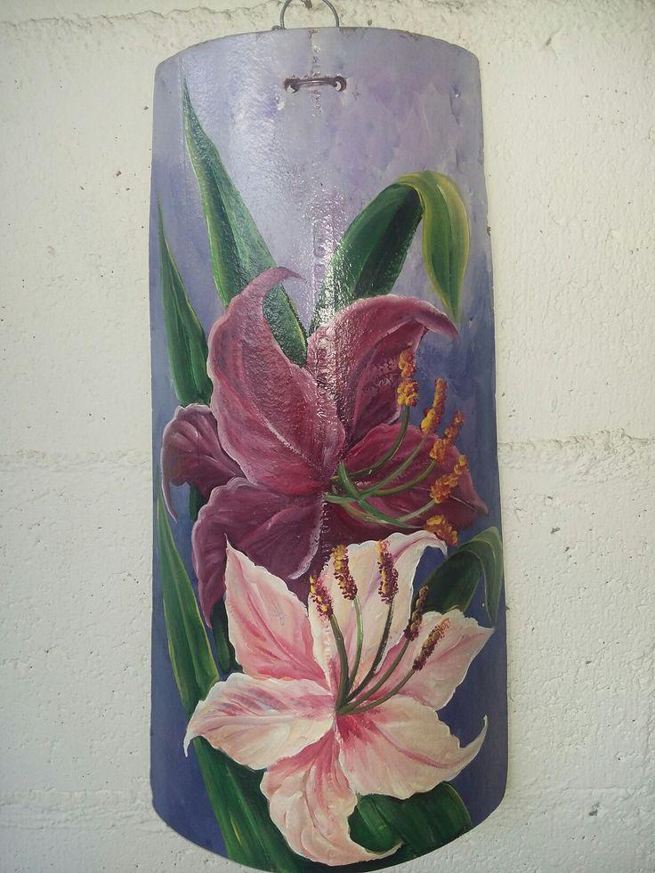 Tejas flores pintadas tejas crafts decor y home decor - Pintar tejas de barro ...